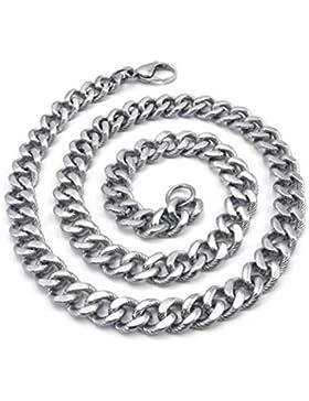 KONOV Schmuck Herren-Kette, Edelstahl Schwere groß Biker Königskette Halskette, Silber, Breite 10mm, Länge 55cm