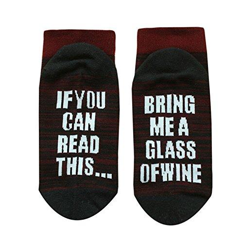 DSUK Sneaker Socken Baumwolle, Unisex Kreative If You Can Read This Bring Me A Glass of Wine Knitting Buchstabe Streifen Socken Winter Warm House Ankle Slipper Socks Gestreifte Rot