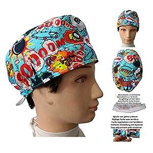 Hüte Operationssaal BOOM kurze Haare, Chirurgie, Zahnarzt, Tierarzt, Köchin Handtuch vorne und Spanner mit verstellbarem Gummi