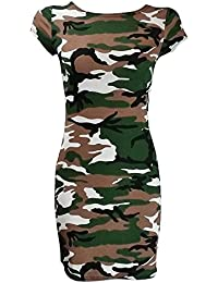 Home Fashion crème de Camouflage Imprimé Robe Bodycon à manches courtes