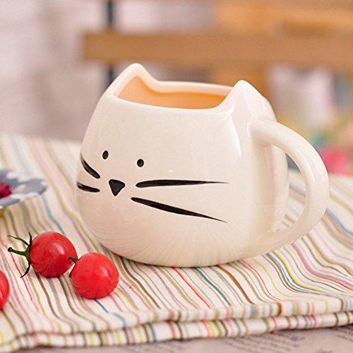 Snoopy-Tazza da caffè, in ceramica, a forma di gatto, Tazza in porcellana per tè, caffè, latte, Espresso, colore: acqua bianco