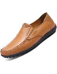 Minitoo Hombres de conducción nuevo nudo Suede Loafers Penny zapatos de barco, color Amarillo, talla 40 EU