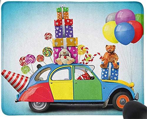 GBZlove Mauspad mit Geschenken, bunt, für Urlaub, Lutscher und Partyhut, Luftballons, Feier, Gaming