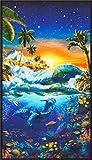 Robert Kaufman Baumwollstoff mit Großmotiv mit tropischer
