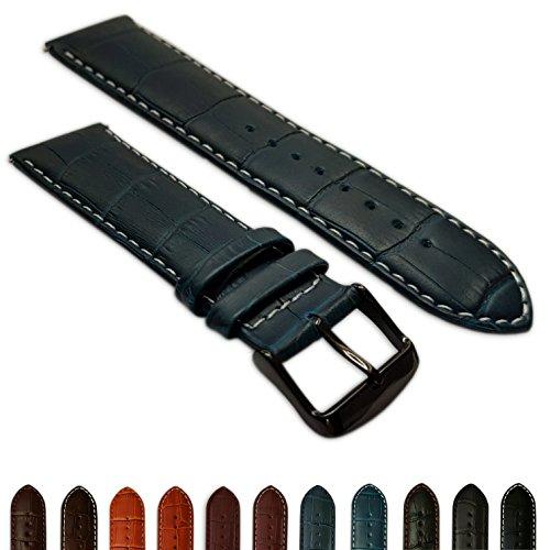 Uhrenarmband 20mm Blau & Weiß Echtleder Mock Croc Band Herren Krokodil gepolstert schwarz Schnalle -