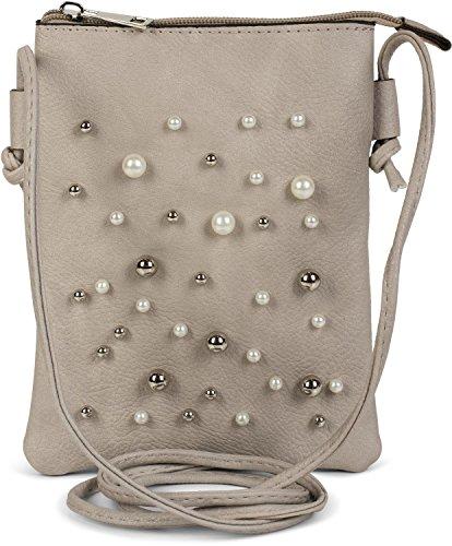styleBREAKER Mini Bag Umhängetasche mit Perlen besetzter Vorderseite, Schultertasche, Handtasche, Tasche, Damen 02012241, Farbe:Hellgrau (Tasche Perlen Handtasche)