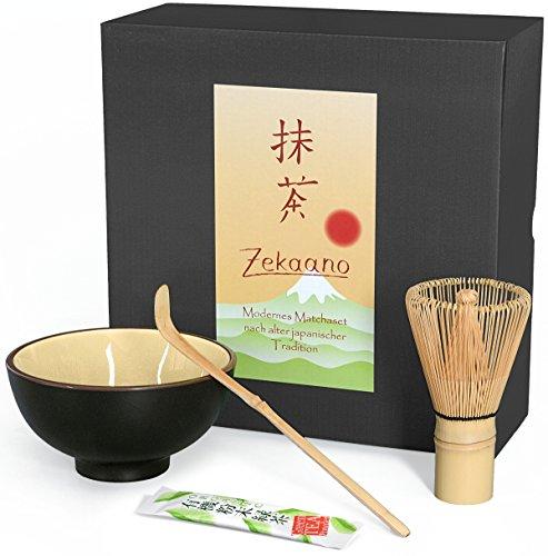 Matcha-Set 3-teilig beige, bestehend aus Matcha-Schale, Matcha-Löffel und Matcha-Besen (Bambus) in Geschenkbox. Original Aricola®