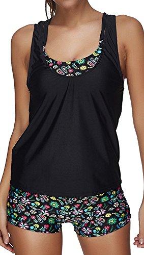 Leslady Damen Separable Badeanzüge Tankini mit 3-Teilig Sporty Neckholder Plus Größe Zwei Stück Badeanzug Mesh Schwimmen Kostüm(Size M, PoP)
