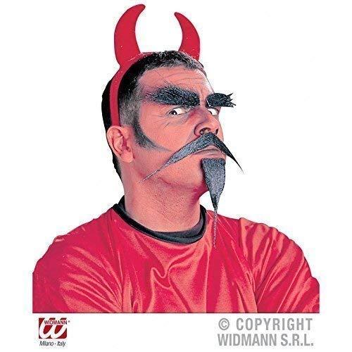 Schwarzer Spitzbart Kostüm - Lively Moments 3 - teiliges Teufelsset mit Augenbrauen, Schnurr- und Kinnbart passend zum Teufelskostüm für Halloween/Oberlippenbart/Spitzbart