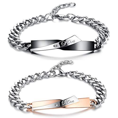 Hongyantech coppia di braccialetti un paio di donne uomo amore incisione un paio di partner ambasciatori in acciaio inox amore partner bracciali rosegold nero