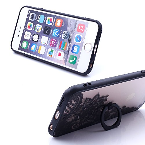 """iProtect Hardcase mit Ring Halter Marmor Design Schutzhülle in Schwarz mit Fingerhalterung für Apple iPhone 6 6s (4,7"""") Flirty"""