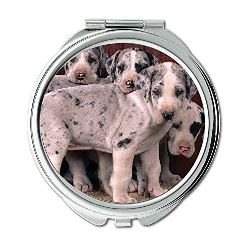 Yanteng Spiegel, Compact Mirror, wurde lustig gefleckter Hund Boo Hund, Taschenspiegel, 1 X 2X Lupe