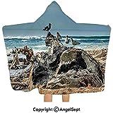 Gustave Tomlinson Coperta con Cappuccio, Una zattera di Legno Galleggiante su The Shore Seagulls Wavy Sea e The Sky Blue Digital