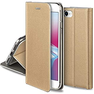 Moozy Hülle für iPhone 7 / iPhone 8, Gold PU-Leder - Elegant metallischer Kantenschutz Klapphülle Handyhülle mit Kartenfach und Standfunktion
