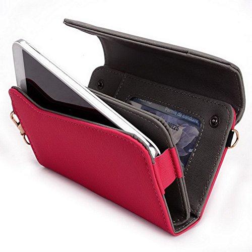 Kroo Lien Series universel Femme Portefeuille Wristlet sac bandoulière compatible avec téléphone portable Alcatel OneTouch POP C7cas Magenta and Grey Magenta and Grey