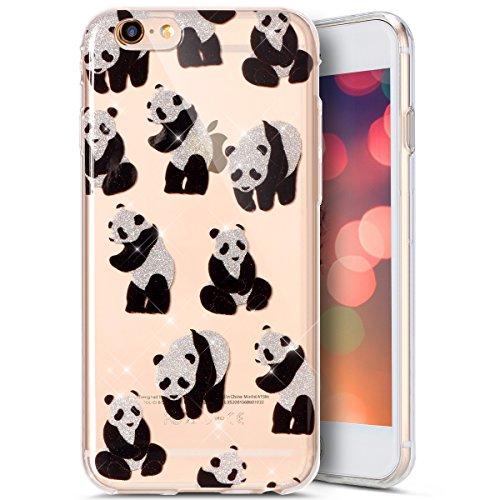 Custodia Cover iPhone 6/6S plus Silicone Morbida,Ukayfe Cristallo di lusso di Bling Colorato Pattern Disegno per iPhone 6/6S plus Trasparente Flexible TPU Gel Ultra Sottile Copertura Case Protettivo S Panda