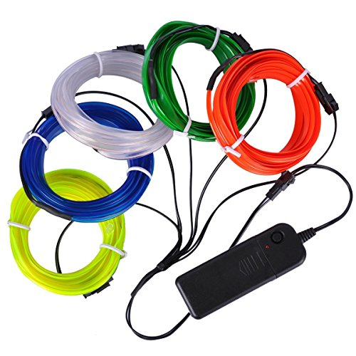 (AutoEC Elektrolumineszenz-Draht (EL Draht ) 5x3m Neon lights, Draht für Party Car Interior Cosplay Halloween Weihnachtsdekoration (Weiß, Blau, Rot, Gelb und Grün))