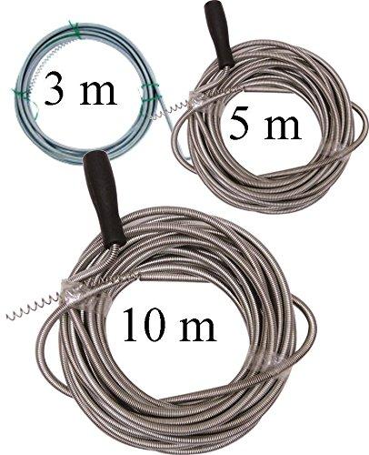 3 tlg. Rohrreinigungs Set - Rohrreinigungsspirale 3 - 5 - 10 m Rohrreinigungwelle