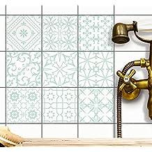 Piastrelle-Sticker decorative | Stickers per piastrelle piastrelle cucina - adesivo-bagno pavimento | 20x20 cm - Motivo Decorazioni greche blu turchese - Set 9 pezzi