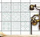 creatisto Fliesensticker Fliesenfolien u. Klebefliesen | Sticker Aufkleber Folie für Bad-Fliesen u. Küchenfliesen zur Küchengestaltung | 10x10 cm - Motiv Türkise Ornamente - 9 Stück