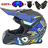 QJXF Adult Motorrad Motocross Helme-Full Face Helmet for Man and Woman-Goggles + Wind Mask + Cross Country Handschuhe (Dot Certified + 9 Style),7,L