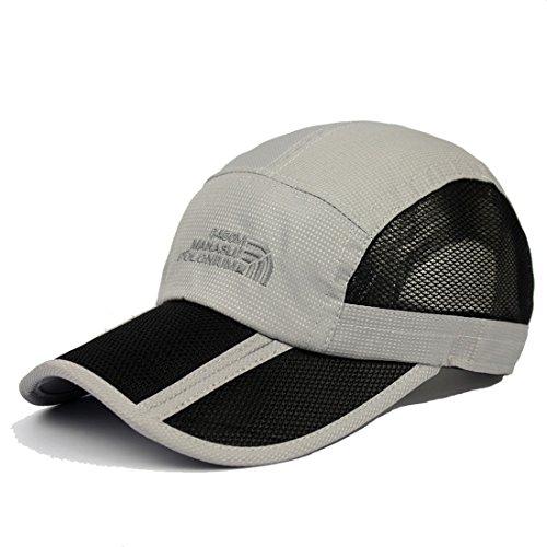 Kuyou Sport Mesh Trucker Cap Faltbarer Sonnenschutz Baseball Kappe (Grau)
