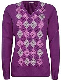 Green Lamb Ladies Argyle Placement Wool Sweater V Neck Golf Pullover Jumper b3ec02613
