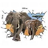Walled Elefanten 3d Effekte Wandaufkleber (abnehmbar, Wasserdicht, Grün) für Wohnzimmer Schlafzimmer Schlafsaal Hintergrund,Zahl