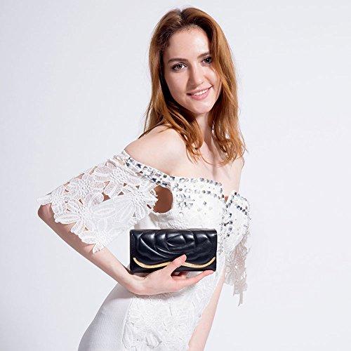 MaiJin Elegante Fiore Modello PU Pelle Portafoglio Donna Nero