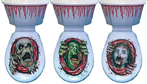 erdbeer-party - Halloween Deko Folie Toiletten Aufkleber Monster Skelett Grafik Blut Party 3 Stück, (Halloween Paar Kostüme Bilder Von)
