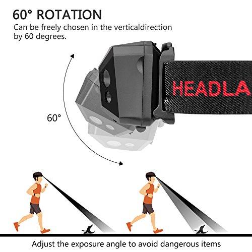 Stirnlampe LED, USB Wiederaufladbare Kopflampe Wasserdicht Leichtgewichts stirnlampen Perfekt fürs Joggen, Laufen Campen Angelnund Radfahren, für Kinder und mehr - 6