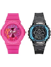 Fantasy World Pink Watch And Sport Watch Combo For Boys And Girls
