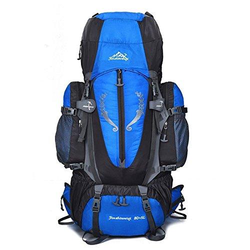 AaaSue – Mochila para montañismo, 85 L, Alta Capacidad, para Senderismo, Escalada, Acampada, Impermeable, Color Azul Claro