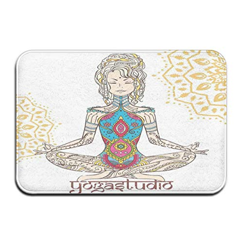 ITSHHMB Water Absorbent Bath Mat Non-Slip Rubber Back Microfiber, Girl In Yoga Position with Ethnic Figures On Her Body Physical Force Belief Pattern,for Living Room Rugs Bedroom - Body Contour Spa