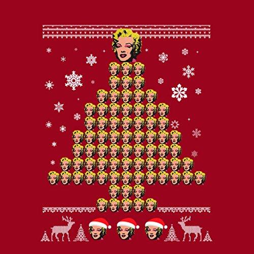 Andy Warhol Marilyn Monroe Christmas Tree Pattern Women's Sweatshirt Cherry Red