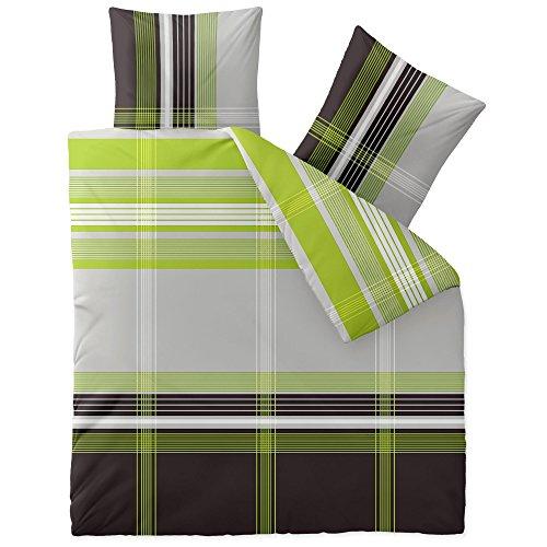 CelinaTex Touchme Corinna Biber Bettwäsche 200 x 220 cm 3-teilig grün grau anthrazit weiß Flauschiger Bettbezug Streifen 0004085