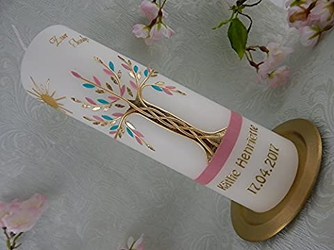 Taufkerze Lebensbaum mit Sonne gold altrosa mint modern Taufkerzen Mädchen