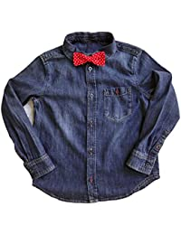 11ce8de69c 100% Cotton Boy s Denim Shirt with FREE Polka Dot Red Bow Tie