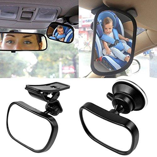 KOBWA Auto Baby Spiegel Einstellbare Rücksitzspiegel für Babys Im Reboard Kindersitz mit Saugnäpfe und Klammer (85×50mm)