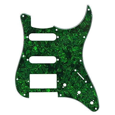IKN® Pickguard für Fender Squier Style Gitarre Scratch Platte, 3Ply SSH mit kostenlosen Schrauben, grüne Perle