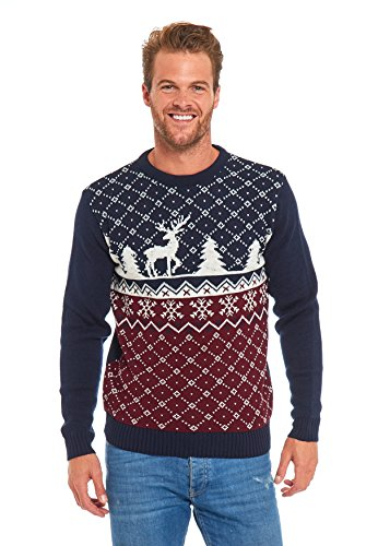 LOOKS FUNNY Motif Noël Couple Pull Chandail Pull-over Unisexe Adapté Homme / Femme