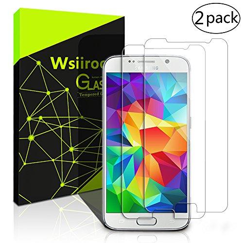 Schutzfolie für Samsung Galaxy S6, [2 Stück] Wsiiroon Panzerglas - 9H Härte, Anti-Kratzen & Anti Fingerabdruck, Blase Frei, Ultra HD ausgeglichenes Displayschutzfolie für Samsung Galaxy S6