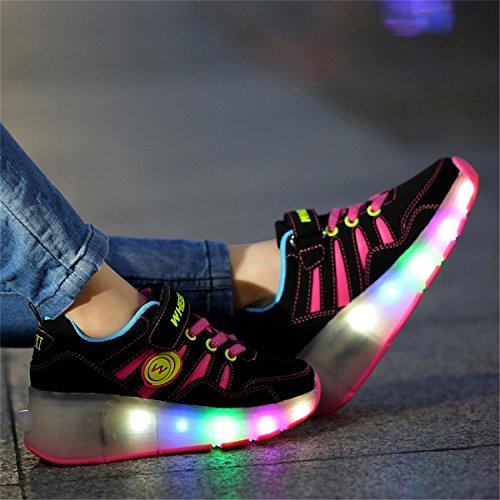 LILY999 Unisex Kinder LED 7 Farbe Farbwechsel Lichter blinken Shoes Schuhe Flügel-Art Rollen Verstellbare Schlittschuhe Skateboard Lnline Sneaker Einzelnes Rad Jungen Mädchen - 3