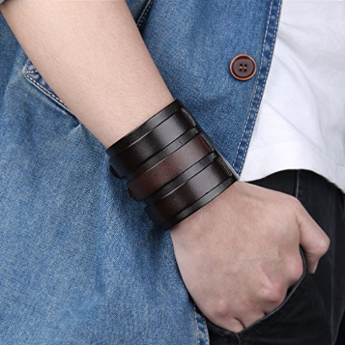 Image of EVER FAITH® 3 Layer Wide Belt Genuine Leather Men Wristband Black w/ Brown Bracelet Unisex Couple N03746-3