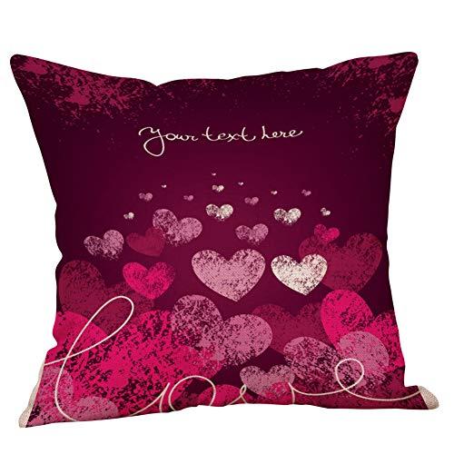 Bella cotone felice san valentino federa lettera cuore stampa dolce amore quadrato cuscino divano letto arredamento casa federa 45×45cm/18×18 pollice by wudube