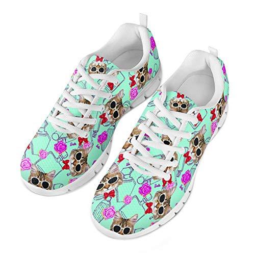 Coloranimal Womens Road Laufschuhe Gymnastik Sport Joggen Walking Flats für Dame Mädchen Kawaii Haustier Katze Muster Leichte Air Mesh Tennis Turnschuhe