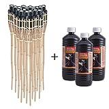 DXP Lot de 18 Torches de jardin en bambou avec 3 x 1 L Huile pour lampe inodore
