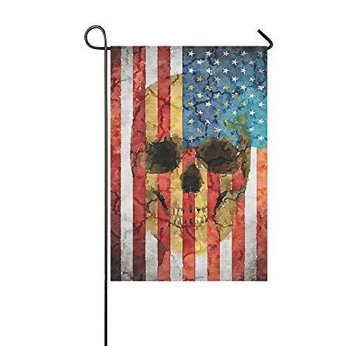 Muccum amerikanische Flagge mit Schädel Kopf Polyester Garten Flagge Haus Banner 12 x 18 Zoll, Halloween Tag der Toten dekorative Flagge für Party Yard Home Outdoor Decor (Party Toten Tag Des)