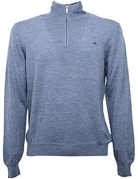 B5476 maglione uomo ETRO azzurro melange sweater men