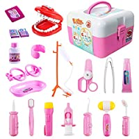 ThinkMax Dentist kit, 20 Pcs Pretend Dentist Play Set Toy for Kids and Children